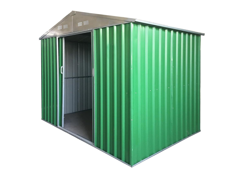 Caseta de jardín puerta Herramientas de chapa galvanizada de 0, 27 mm muy robusta de calidad, Charol de verde con puertas correderas: Amazon.es: Jardín