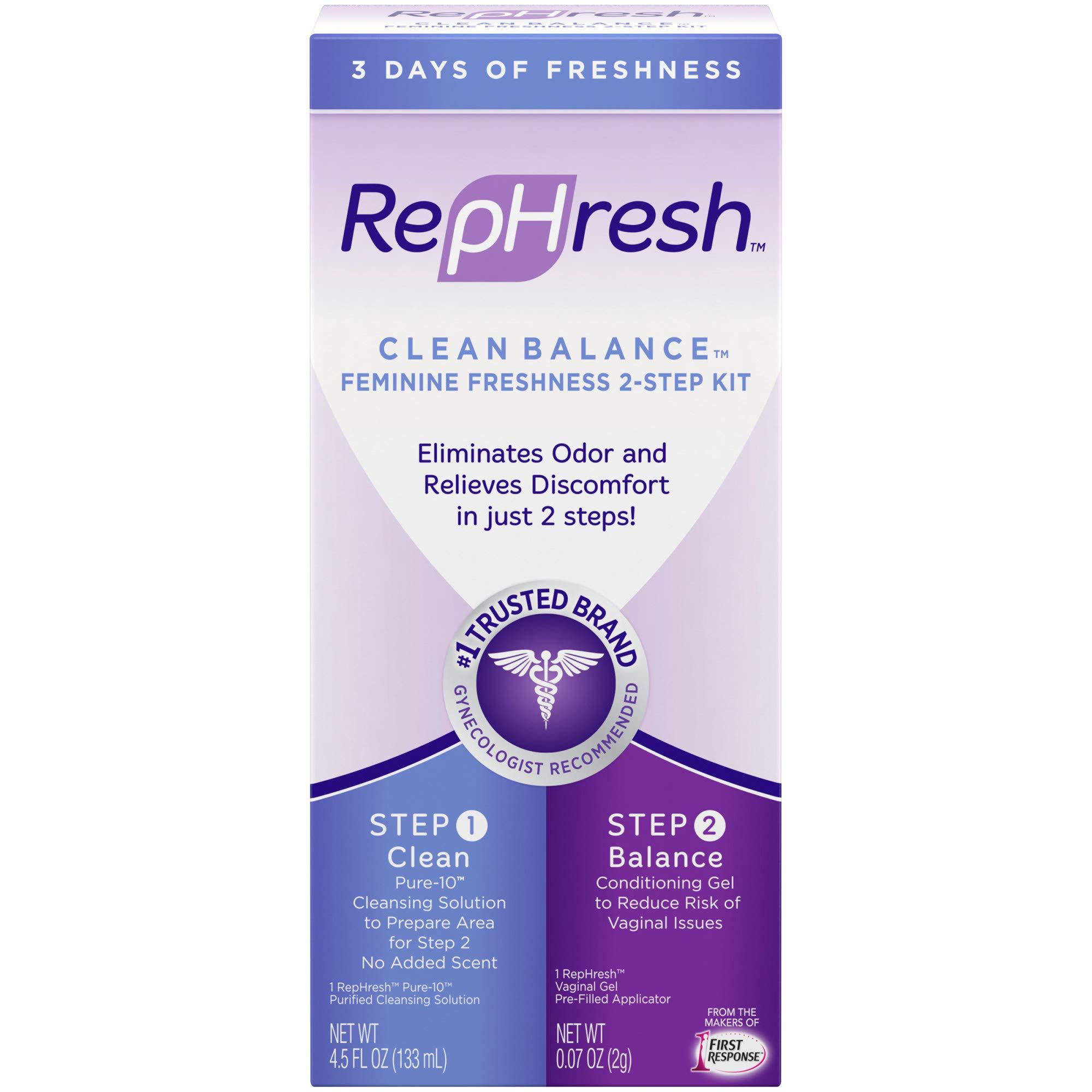 RepHresh Clean Balance Feminine Freshness Kit (Part 1 Cleans: 4.5oz Bottle; Part 2 Balances: 0.07 oz Gel Applicator)