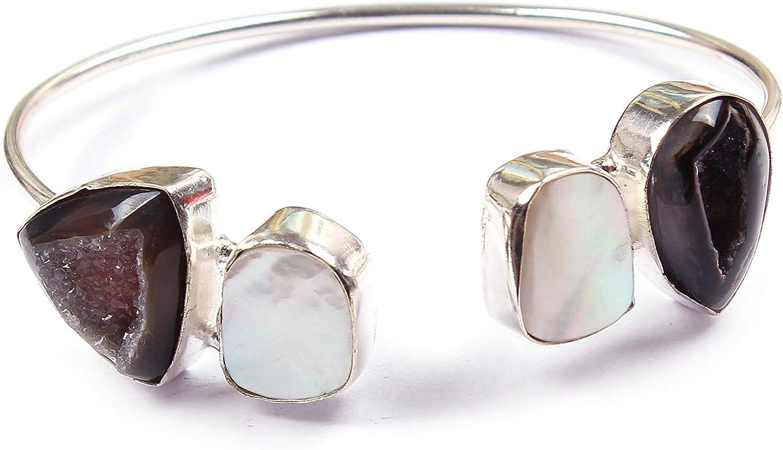 Neerupam Collection Natural Multicolor Perla druzy Piedras Preciosas Plateado Pulsera Hecha a Mano joyería de Moda para Mujeres (BRS-23)