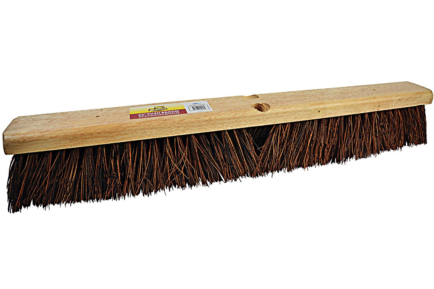 Bristles 4224 24'' Outdoor Push Broom Head – Heavy Duty Hardwood Block, Rough Surface Stiff Palmyra Fibers, Brown