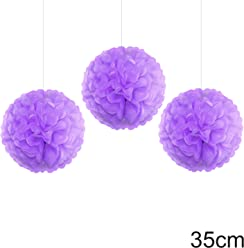 EinsSein 3er Set Pom Poms Large Flieder DM 35cm Hochzeit Wedding Pompons Dekokugel