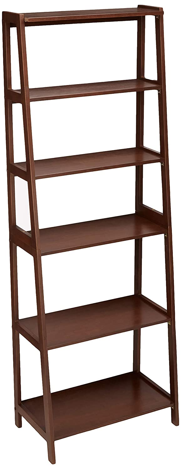 AmazonBasics Classic 5-Tier Open Bookcase with Solid Rubber Wood – Walnut