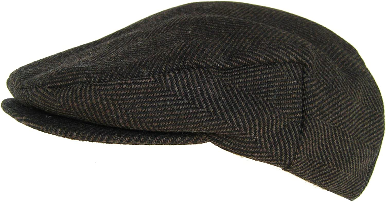 Headchange Made in USA 100/% Wool Ivy Scally Cap Brown Herringbone Driver Hat