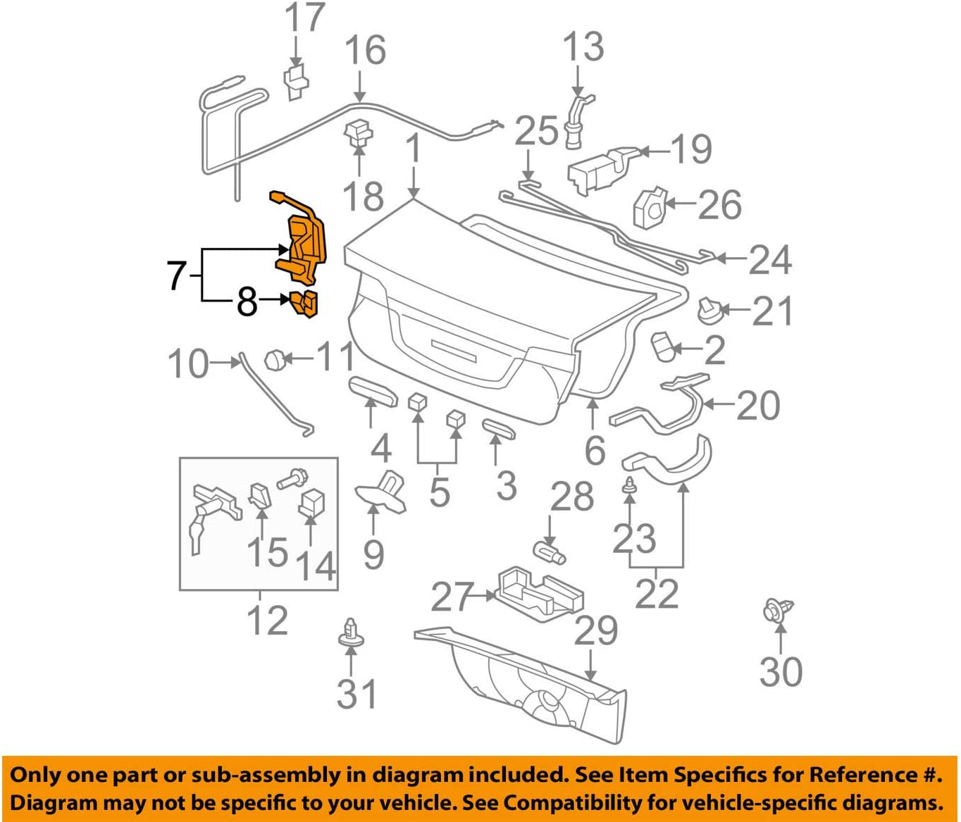 Genuine Honda 74851-SNA-A02 Trunk Manual+Handle Lock