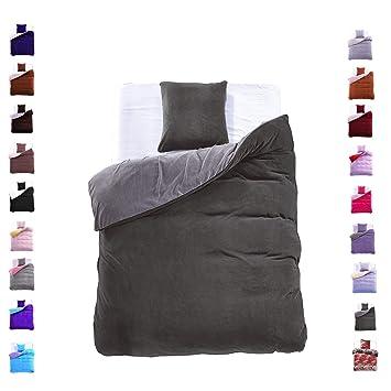 155x220 cm Bettwäsche mit 1 Kissenbezug 80x80 Mikrofaser Weich Warm Winter Kuschelig Bettbezug Bettwäschegarnitur grau dunkel