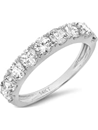 Clara Pucci 14 CT Round Cut Pave Set Bridal Wedding Engagement Band Ring 14kt White Gold