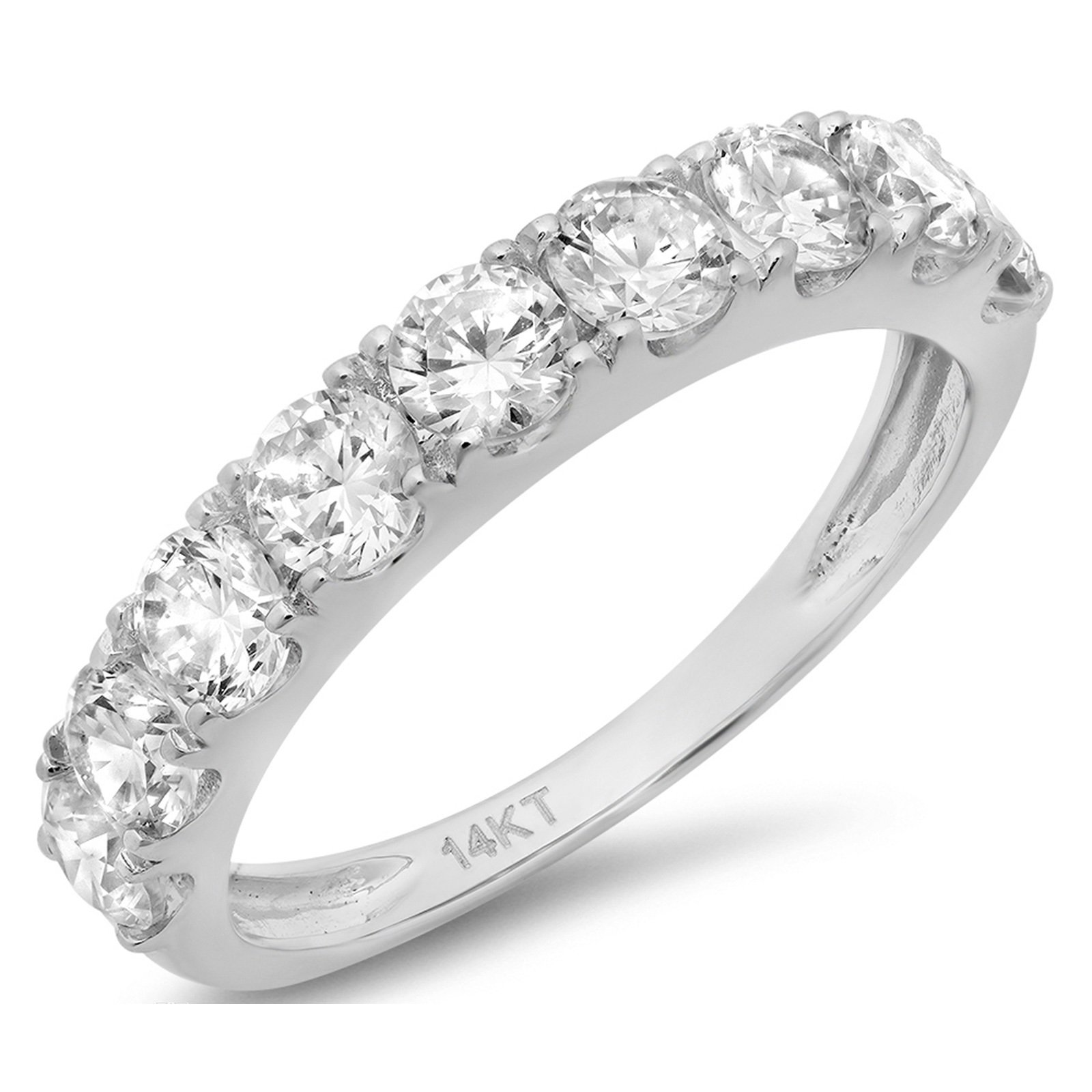 Clara Pucci 1.4 CT Round Cut CZ Pave Set Bridal Wedding Engagement Band Ring 14kt White Gold, Size 5.75