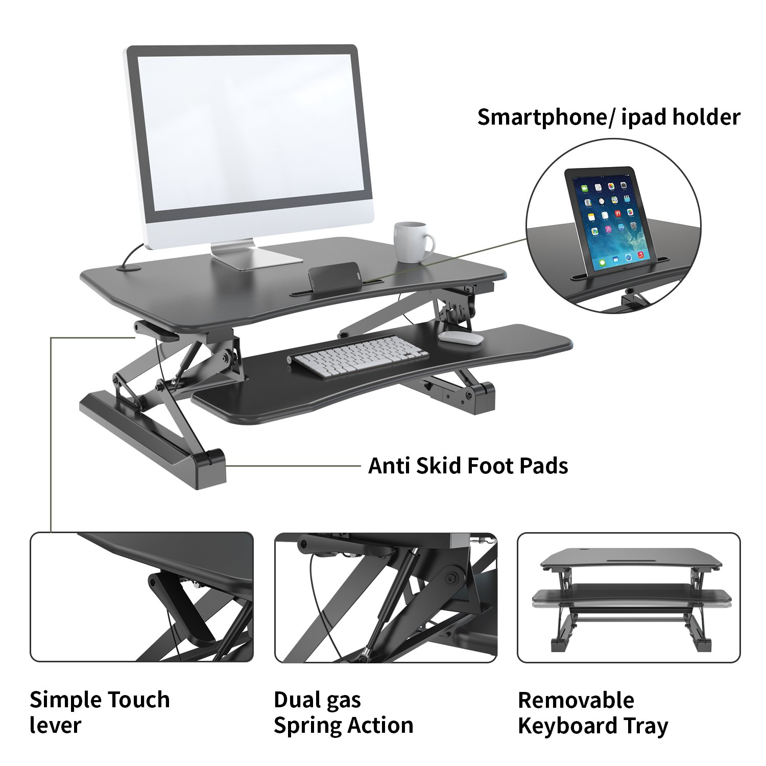 Zeal Height Adjustable Standing Desk Ergonomic Laptop Monitor Standing Dual Riser Sit to Stand Table Computer Workstation Desk (Black) by Zealdesk (Image #6)
