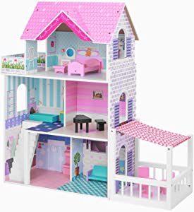 "BABLE Wooden Dollhouse for 3-9 Year Olds Girls, Dollhouse with Furniture for Small Space, Beautiful Modern Space-Saving Design Dollhouse for 12"" Dolls, 3 Levels, 5 Rooms, 2 Balconies, 34 x12 x34 in"