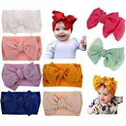 Baby Girl Diy Elastic Headbands Newborn Infant Toddler Hairbands Children Big Bows knotted Soft Headwrap Hair Accessories (8pcs-mixed Color Set2, cotton)