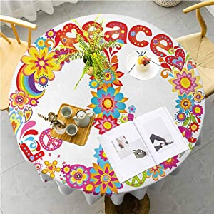 "70s Party Round Tablecloth Peace Sign with Colorful Flowers and Rainbows Love and Joy Festive Composition Oil-Proof Spill-Proof Durable Tablecloth for Wedding Party Restaurant, 50"" Round Multicolor"