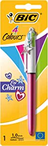 BIC 4 Colours Charm Retractable Ball Pens Medium Point (1.0 mm) - Purple or Pink Body, Pack of 1 Pen