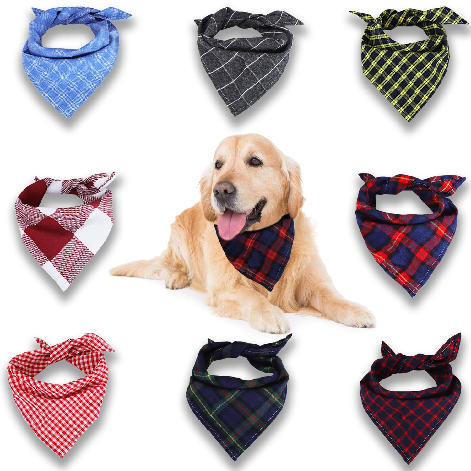 Dog Bandana, VIPITH Cotton Triangle Bibs Scarf Washable Printing Dog Scarf for Pets, Dogs and Cats 8 Styles 3 Thicknesses (Pack of 8)