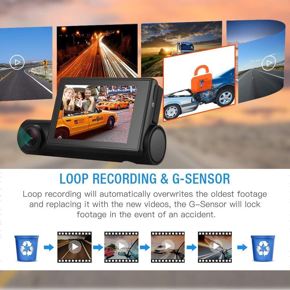 cam/éra GPS avec Fonction de d/étection de Mouvement OnReal 2-en-1 Double cam/éra de Tableau de Bord WiFi 1080P enregistreur de Conduite avec /écran Tactile Avant et cam/éra de Tableau de Bord etc.