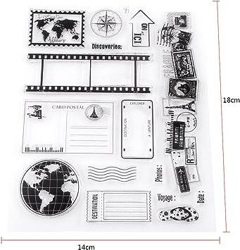 Sello de Silicona Transparente Sello Claro para Scrapbook Álbum de Resorte Sello de Goma de Postales de DIY para Niños Decoración de Navidad 14x18cm: Amazon.es: Hogar