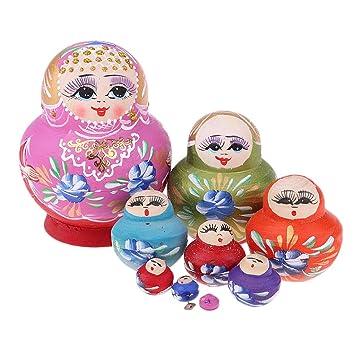 D DOLITY 10 Pedazos Multicolor Matryoshka Navidad Regalos ...