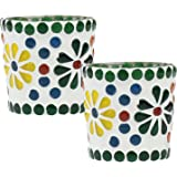 """Special Offer """"Set of 2"""" Glass Mosaic Tealight Holder 2.3"""" - Tea Light Centerpiece for Table Decoration - Handmade Multicolored Flower Votive Candle Holders from SouvNear"""