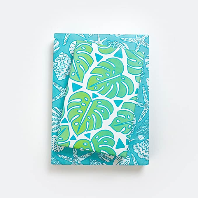Zebra Hippo Elephant Giraffe Baby Shower Christmas Birthday Party Gift Wrap Tropical Safari Zoo Leaf Wrapping Paper Sheets Set of 3