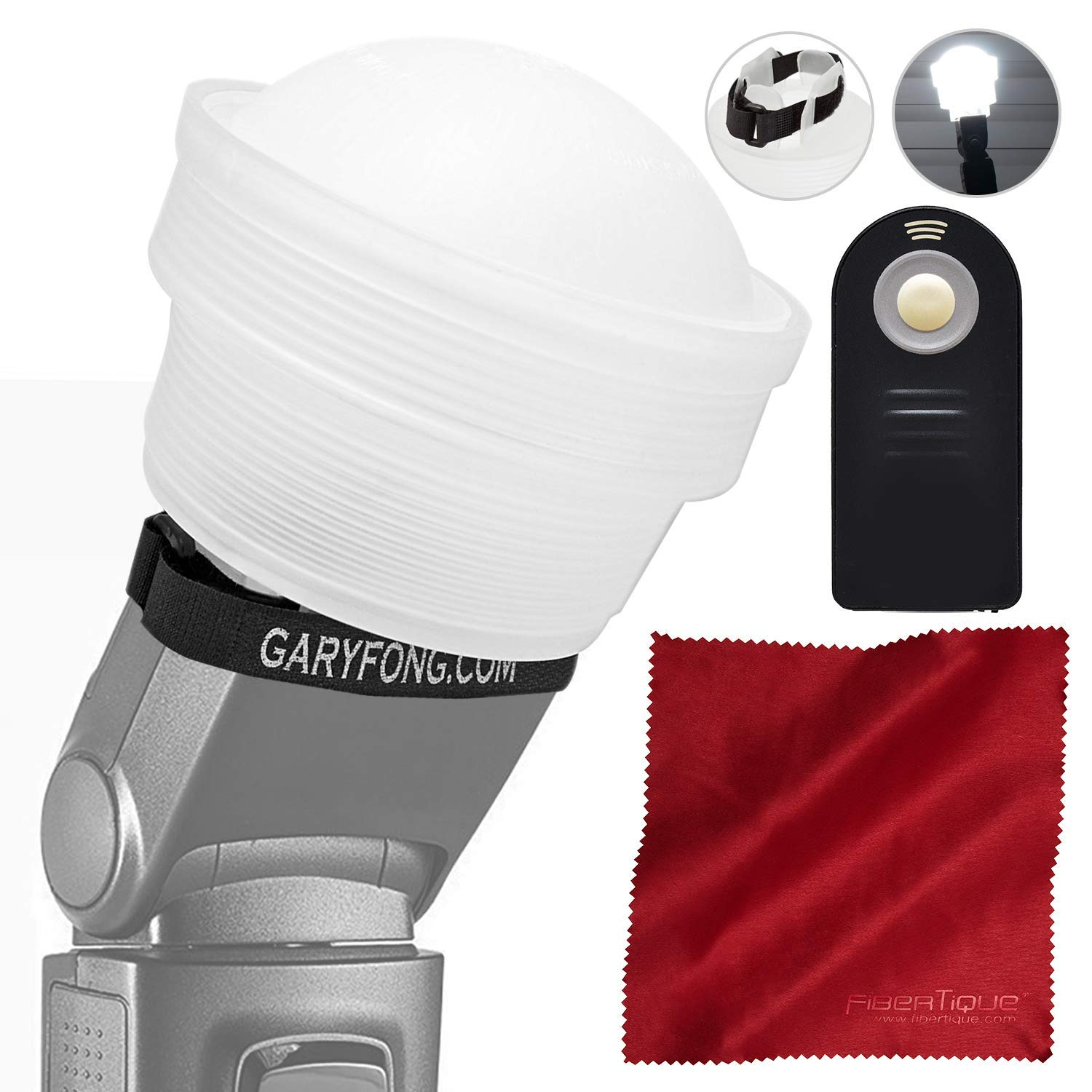 Gary Fong Lightsphere Collapsible with Speed Mount (Generation 5) for Nikon SB-700 SB-5000 SB-500 SB-300 and all Speedlight Flashes + Camera Remote by Gary Fong - Photo Savings