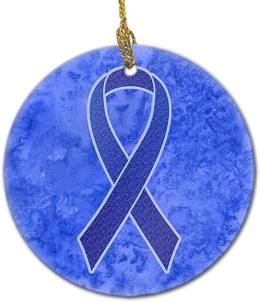 Amazon Com Caroline S Treasures An1202co1 Dark Blue Ribbon For Colon Cancer Awareness Ceramic Ornament 3 In Multicolor Caroline S Treasures Home Kitchen