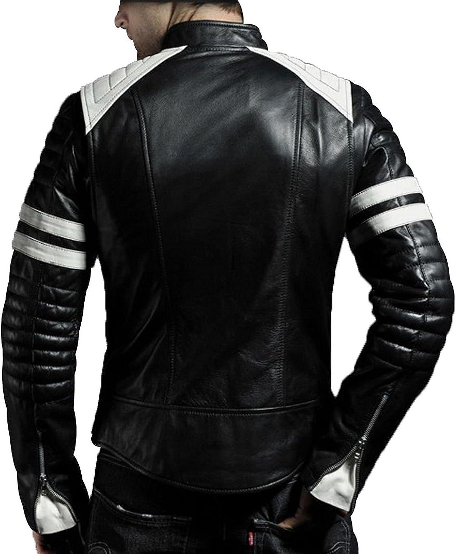 AMANATI Mens Biker Jacket Slim FIT Lamb Skin Geniune Leather