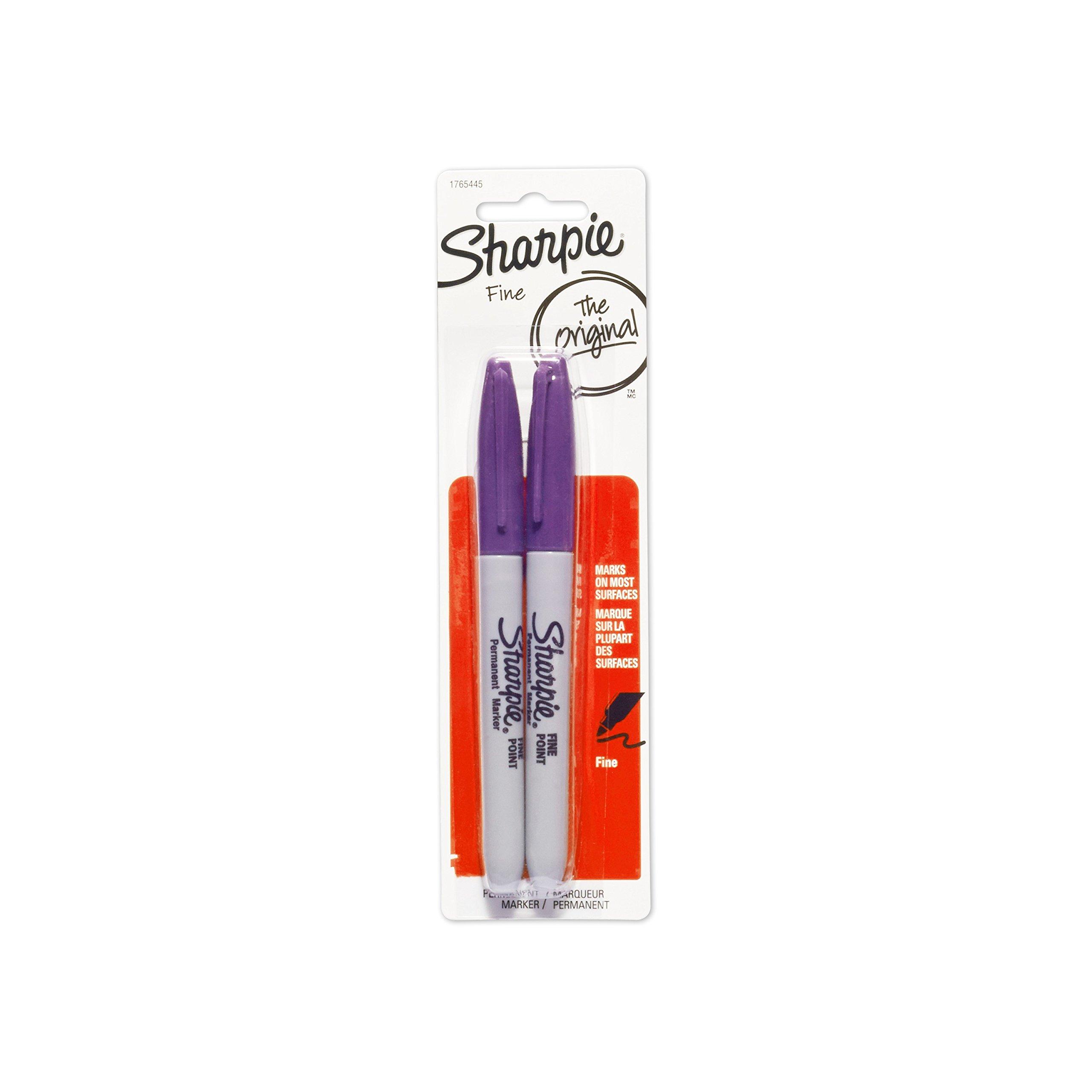 Sharpie Permanent Markers, Fine Point, Purple, 2-Pack (1765445)