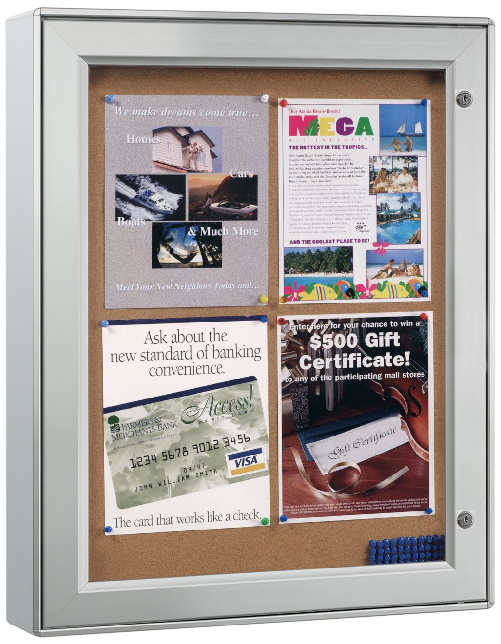 Displays2go Wall-Mounted Enclosed Bulletin Board, 23-1/4 x 29-3/4 Inches, Aluminum Frame, Weather Resistant, Swing-Open Locking Door for Indoor or Outdoor Use (ODNBCB4A4) George Patton Associates
