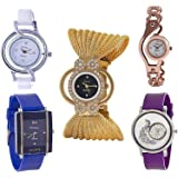 Watchbro Stylish Analoguewhite, Blue, Black Dial Watch For Women And Girls - Combo Of Set 5 (Pp-00992)