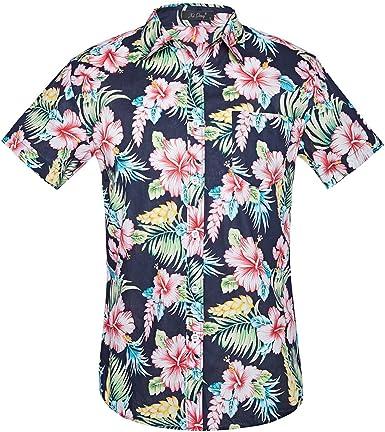 Las Flores de los Hombres de Manga Corta Camisa Hawaiana de ...