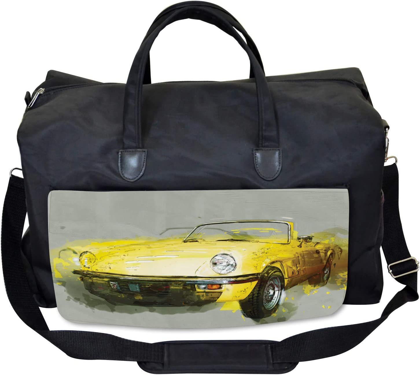 Large Weekender Carry-on Classic Sports Car Ambesonne Vintage Gym Bag