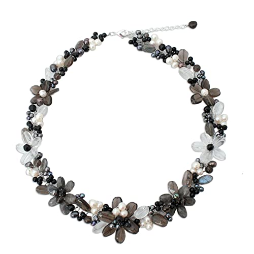 NOVICA Multi-Gem White Culture Freshwater Pearls Plated Beaded Necklace, 17.75 , Shadow Garland