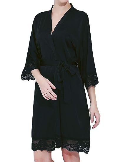 6fc88de42f94 ModParty Women's Satin Lace Bride & Bridesmaid Robes (Black) at ...