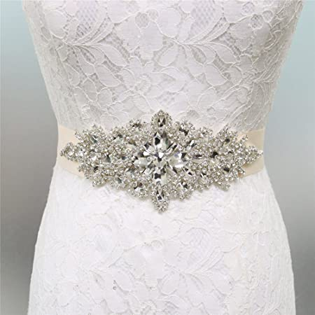 Zdada Elegant Wedding Dress Sash Belt Ribbon Wedding Belt Bridal