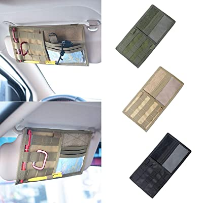 Tactical Molle Vehicle Visor Panel Truck Car Sun Visor Organizer Holder Pouch Sunshade Storage Bag (Black): Electronics