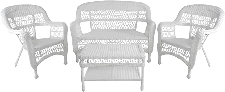 Northlight - Juego de Muebles de jardín de Mimbre y Resina de Acero Blanco, 4 Piezas, sofá de Dos sillas y Mesa: Amazon.es: Jardín