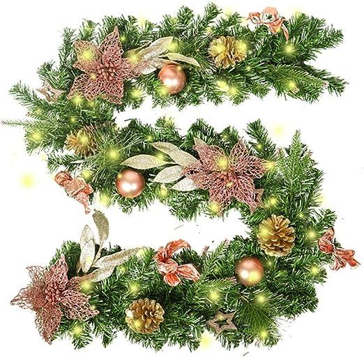Treer Guirnalda de Navidad Decoración, Led para Árbol Artificial Premium 270 cm con Ramas Adornos para Chimeneas Árbol Jardín Corona de Pino con Luz de Navidad Colgante Adornos (Oro): Amazon.es: Hogar