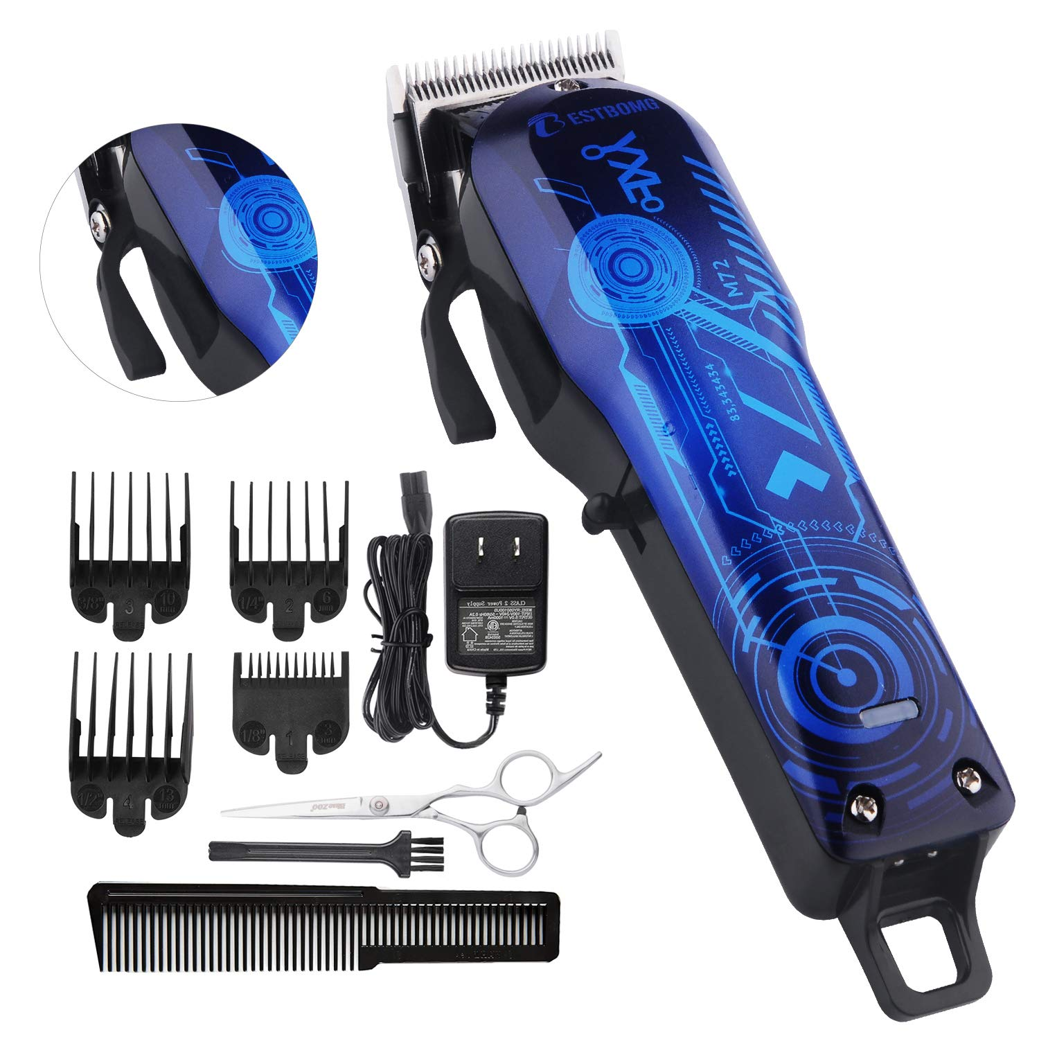 Professional Cordless Rechargeable Hair Clippers for men Beard Trimmer BESTMOGE Hair Cutting Kit for Kids with Taper Lever, Rechargeable Li-ion Battery ICR18650 Heavy Duty Motor