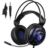 SADES SA805 PS4 Gaming Headset PlayStation 4 Headset Over-ear Gaming Headphones with Mic for Multi-Platform New Xbox One/PC/PS4 with Volume Control (Black Blue)
