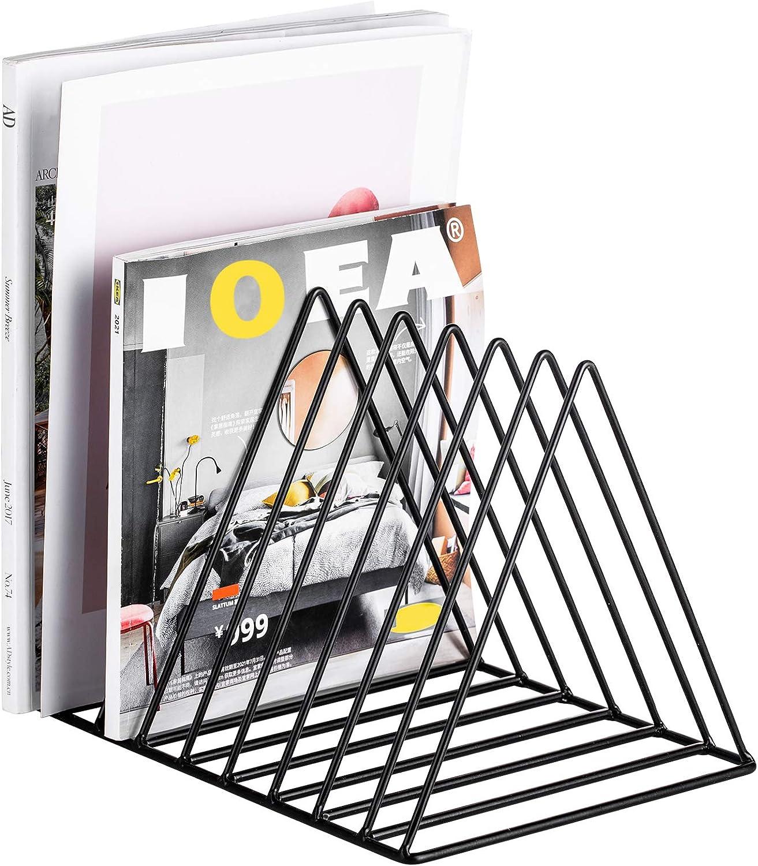 Record Rack,Magazine Holder,Newspapers Holder,Letters Storage,Desktop File Sorter Organizer Triangle Bookshelf Decor Home Office,Photography Props