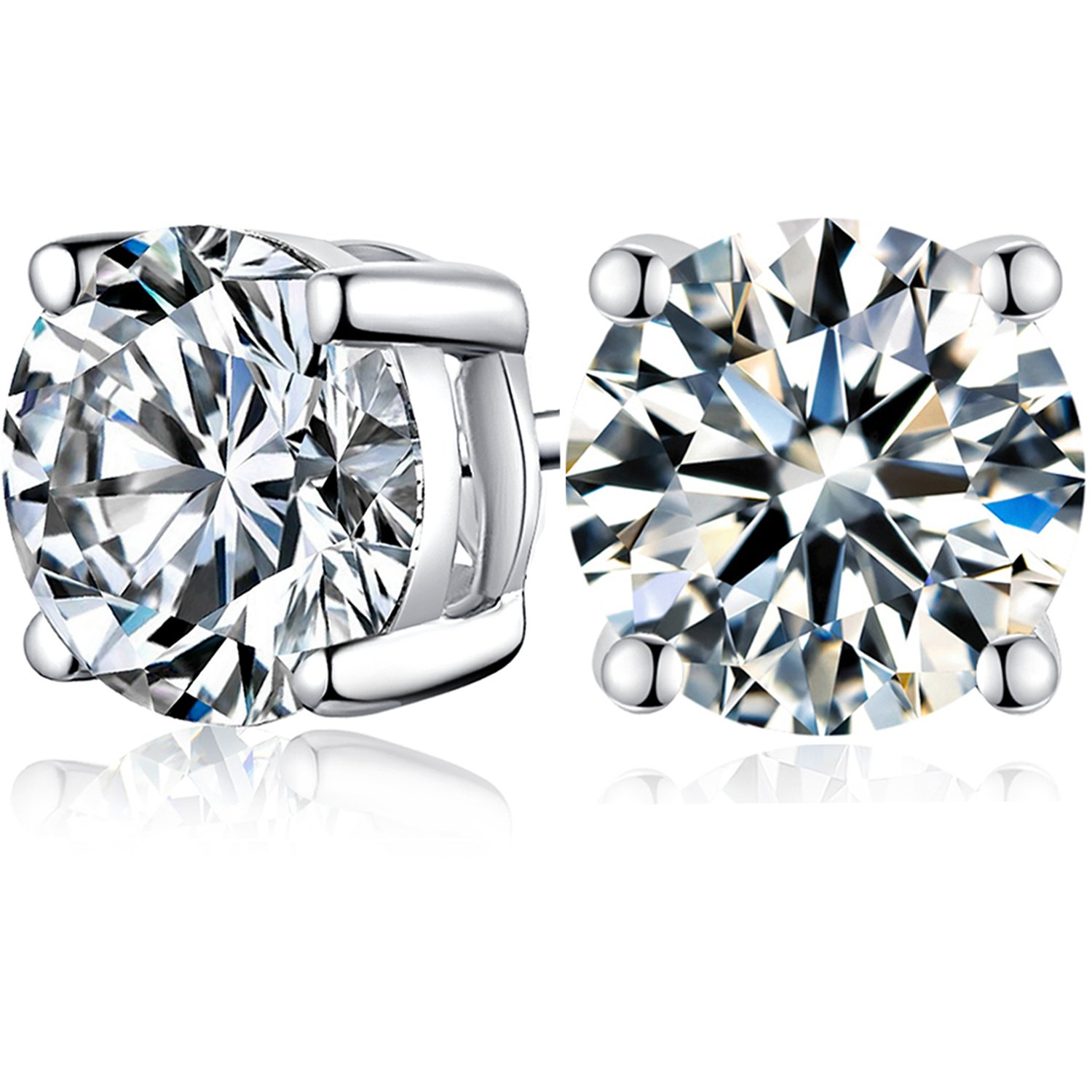 Sterling Silver & Platinum Plated Cubic Zirconia Stud Earrings For Women Gril 2.0Ct