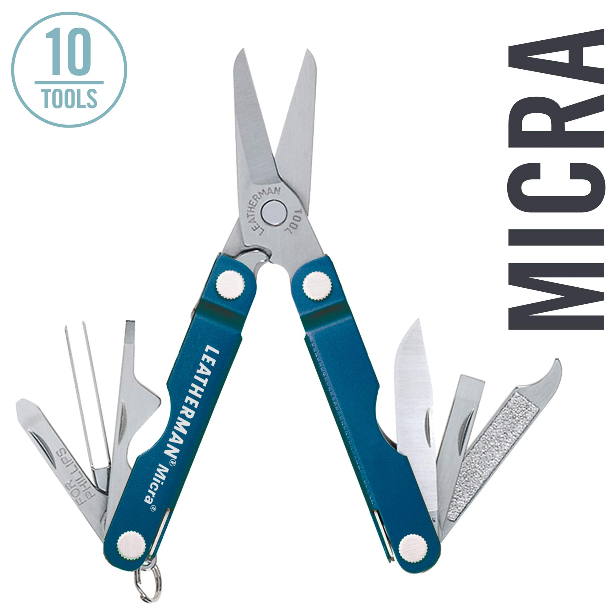 LEATHERMAN - Micra Keychain Multitool with Spring-Action Scissors and Grooming Tools, Stainless Steel, Blue