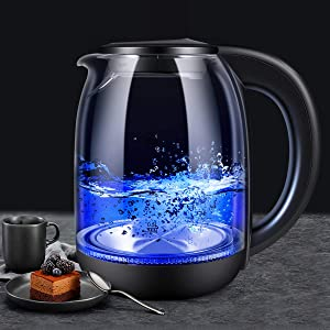 Electric Kettle, FITMAKER Electric Kettle Cordless Glass Cordless Fast 1.7 Liter Cordless with LED Indicator Light Hot Water Dispenser 1500W (BPA Free)