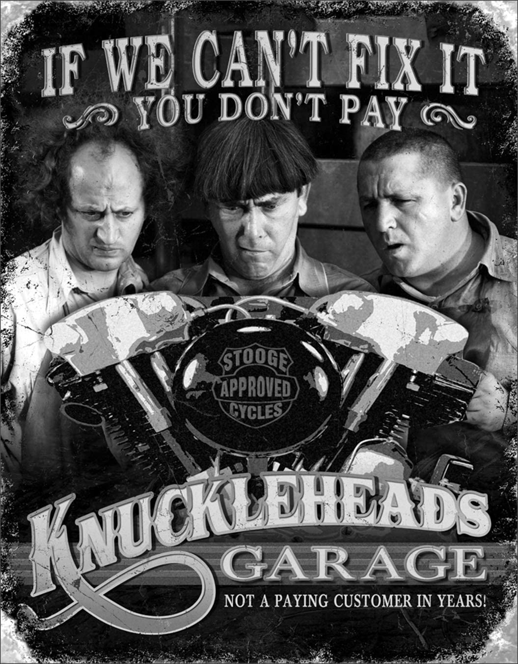 Three Stooges Tin Metal Sign Knuckleheads Garage 16x13 by Poster Discount