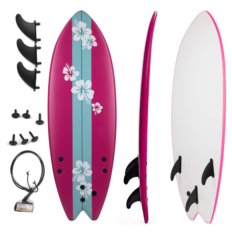 Grande Juguete Surfboard 5'5'', Soft Top Surf Board, Lightweight Surfing Foamie Board Tri Ocean Beach Boards Great for Kids, Adults and Children (Pink)