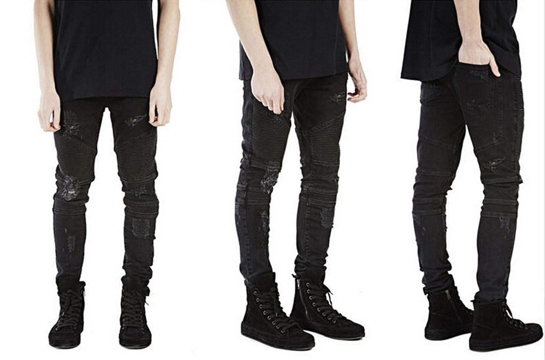 Sarriben Mens Slim Fit Jean Knee Ripped Skinny Denim Casual Jeans Pant