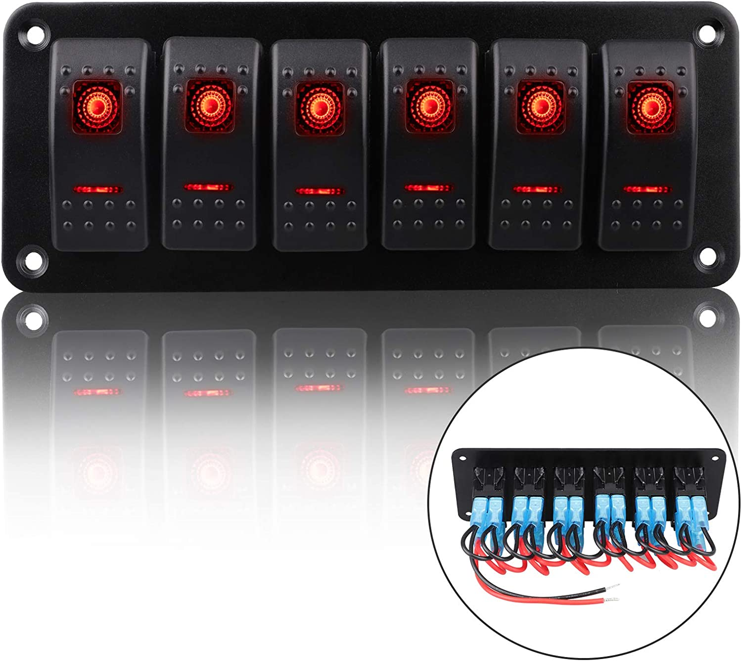 Pre-Wired Rocker Switch Aluminum Panel 6 Gang Toggle Switches Dash 5 Pin ON/Off 2 LED Backlit for Boat Car Marine