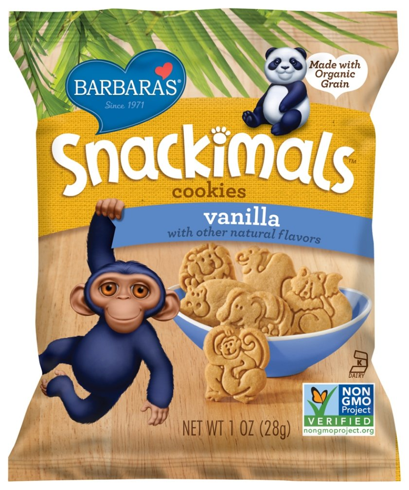 Barbara's Bakery Snackimals Cookies, Vanilla, 6 Single Serving Bags (Pack of 6)