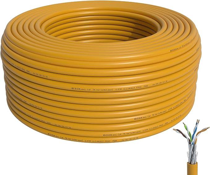 Bigtec Cat 7a Verlegekabel Netzwerkkabel Lan Kabel 60m Elektronik