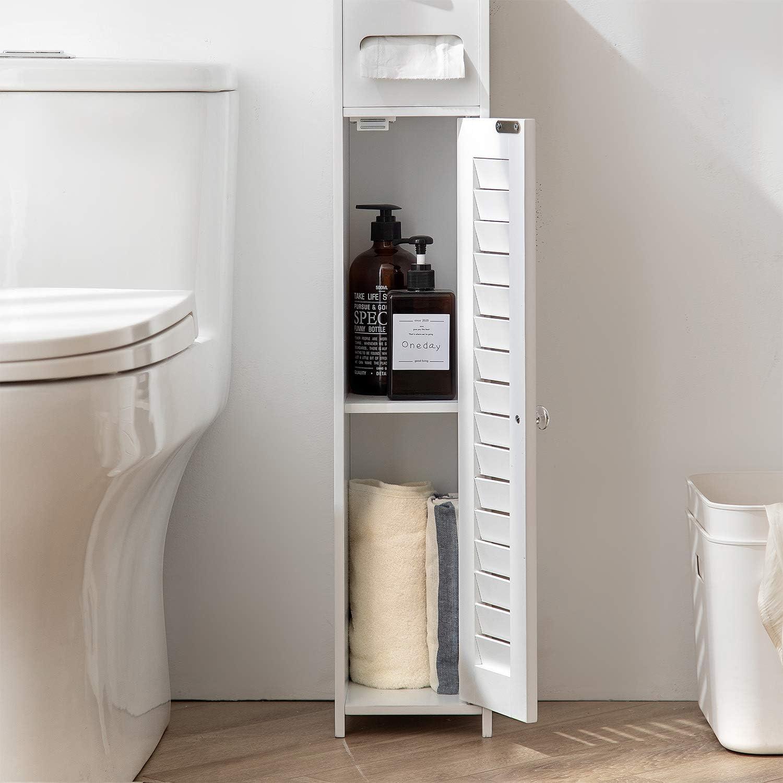 HuiDao Bathroom Floor Cabinet Wooden Corner Cabinet Toilet Side Organizer Storage Cabinet with Door Shelf and Paper Holder, White: Furniture & Decor