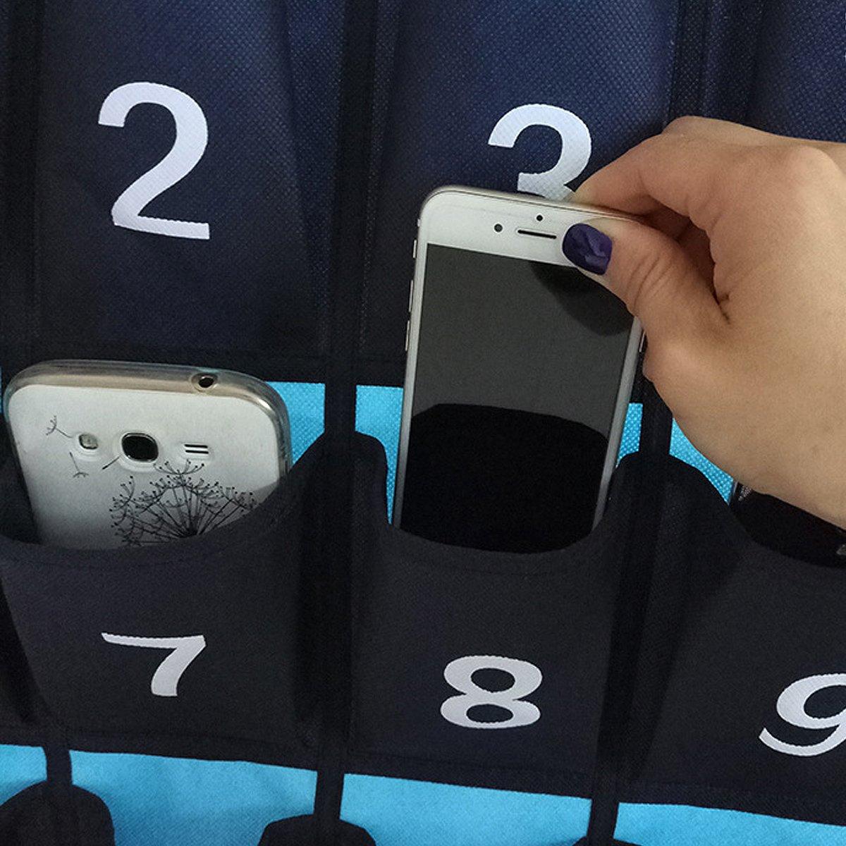 Azul N/úMero 30 Grandes Bolsillos Armario De La Puerta De La Pared Bolsa De Almacenamiento Colgante Organizador Con N/úMero De Almacenamiento Para Tel/éFonos M/óViles //Accesorios De Moda 60*85cm